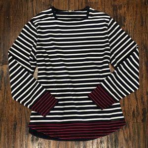 Burberry Striped Long Sleeve Sweater Top Shirt LG